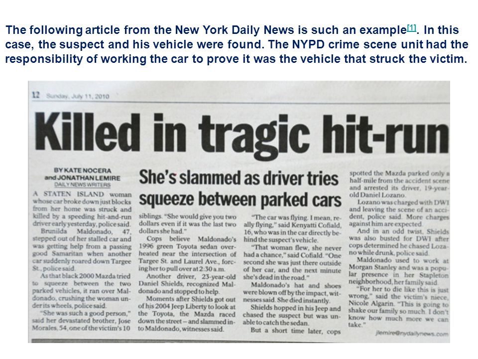 The following article from the New York Daily News is such an example[1].